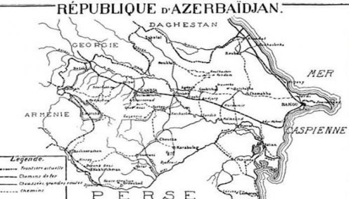 Paris Sülh Konfransında qəbul edilən Azərbaycan xəritəsi