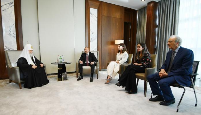 İlham Əliyev və Mehriban Əliyeva Patriarx Kirill ilə görüşdü - FOTO