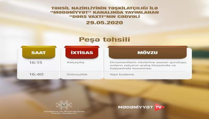 Опубликовано расписание телеуроков по профобразованию в Азербайджане на 29 мая