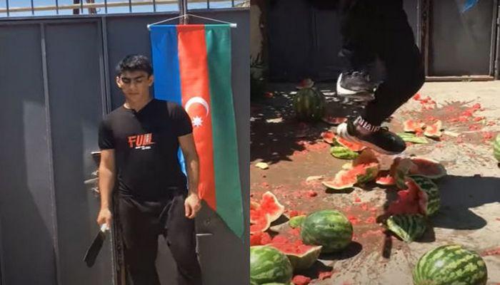 Nazirlikdən azərbaycanlı bloqerin 190 manatlıq yardımla aldığı qarpızları təpikləməsinə REAKSİYA