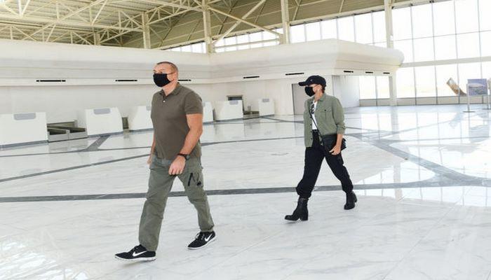 Prezident və xanımı Füzuli Beynəlxalq Hava Limanında görülən işlərlə tanış olublar